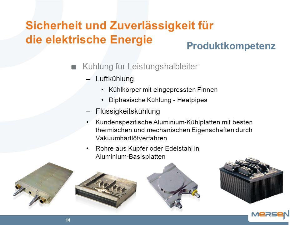 14 Kühlung für Leistungshalbleiter –Luftkühlung Kühlkörper mit eingepressten Finnen Diphasische Kühlung - Heatpipes –Flüssigkeitskühlung Kundenspezifi
