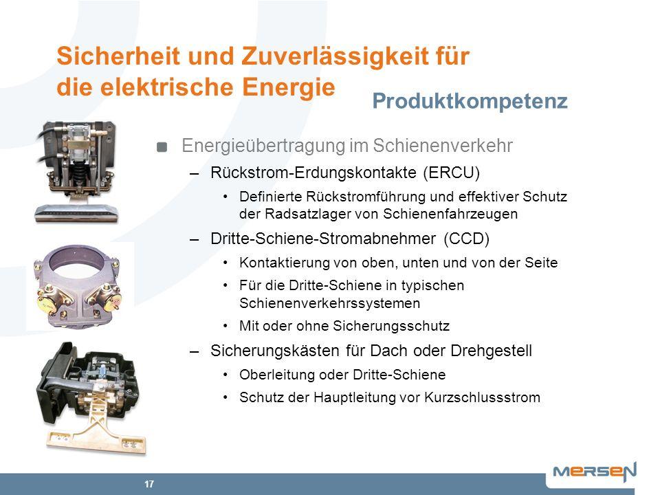17 Energieübertragung im Schienenverkehr –Rückstrom-Erdungskontakte (ERCU) Definierte Rückstromführung und effektiver Schutz der Radsatzlager von Schi