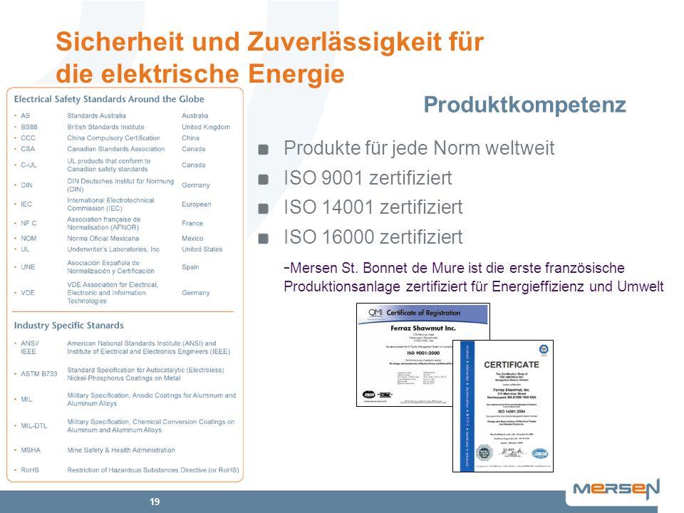 19 Produkte für jede Norm weltweit ISO 9001 zertifiziert ISO 14001 zertifiziert ISO 16000 zertifiziert - Mersen St. Bonnet de Mure ist die erste franz