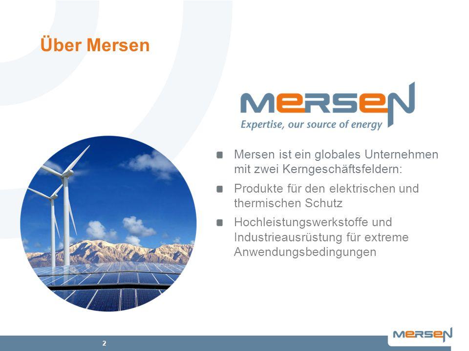 2 Mersen ist ein globales Unternehmen mit zwei Kerngeschäftsfeldern: Produkte für den elektrischen und thermischen Schutz Hochleistungswerkstoffe und