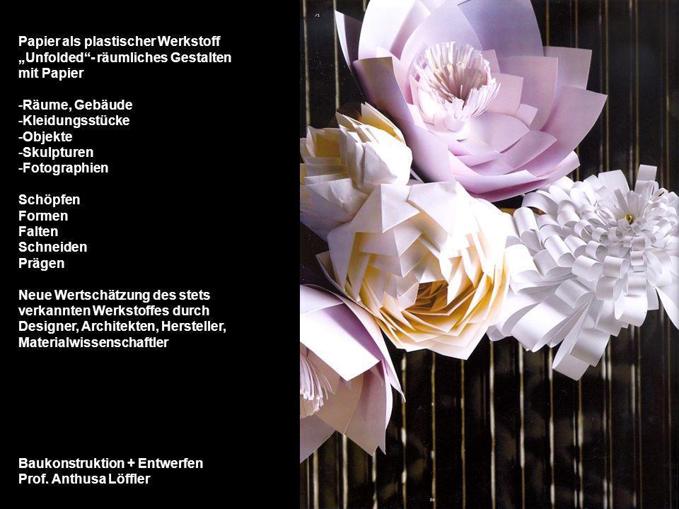 Baukonstruktion + Entwerfen Prof. Anthusa Löffler Papier als plastischer Werkstoff Unfolded- räumliches Gestalten mit Papier -Räume, Gebäude -Kleidung