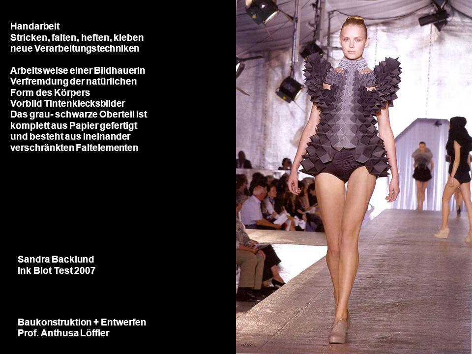 Baukonstruktion + Entwerfen Prof. Anthusa Löffler Sandra Backlund Ink Blot Test 2007 Handarbeit Stricken, falten, heften, kleben neue Verarbeitungstec