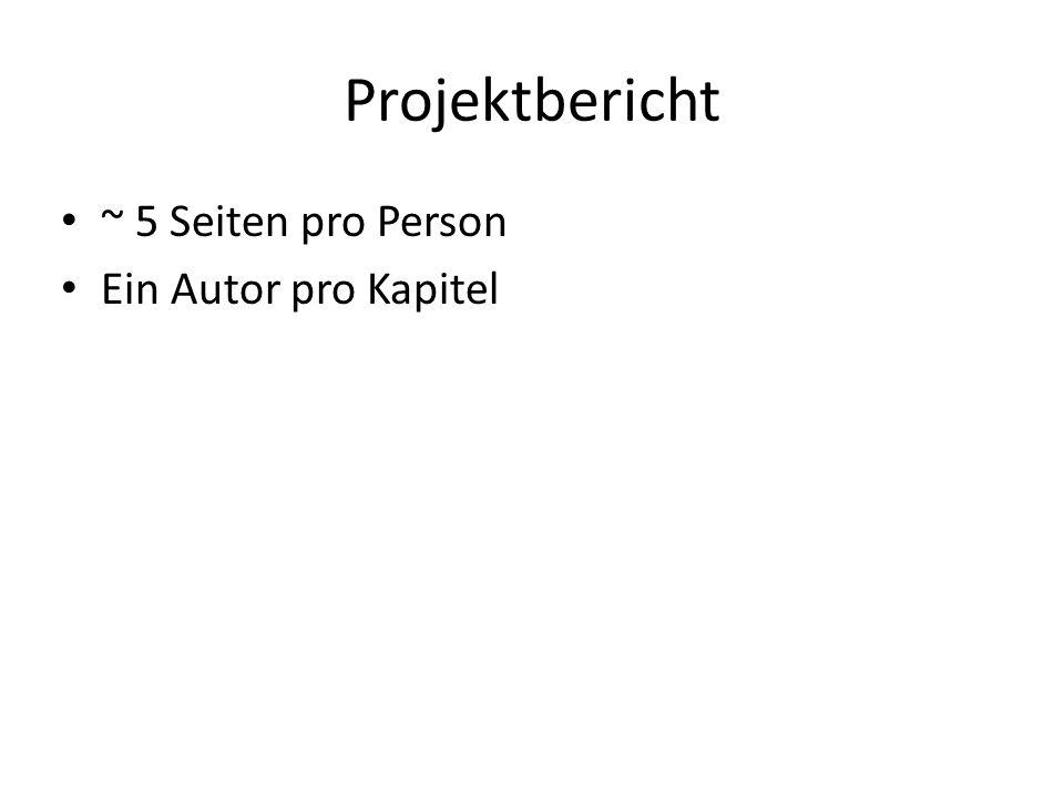 Projektbericht ~ 5 Seiten pro Person Ein Autor pro Kapitel
