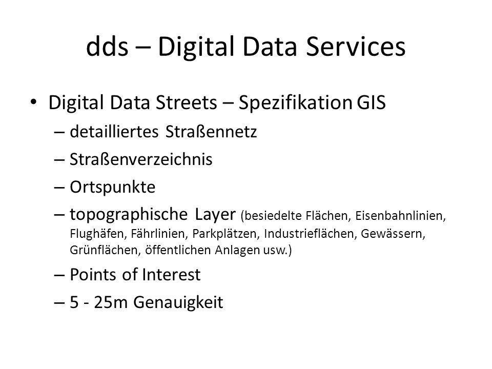 dds – Digital Data Services Digital Data Streets – Spezifikation GIS – detailliertes Straßennetz – Straßenverzeichnis – Ortspunkte – topographische La