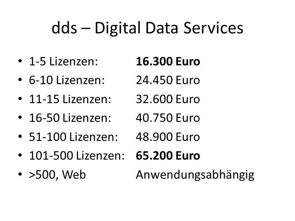 dds – Digital Data Services 1-5 Lizenzen: 16.300 Euro 6-10 Lizenzen: 24.450 Euro 11-15 Lizenzen: 32.600 Euro 16-50 Lizenzen: 40.750 Euro 51-100 Lizenz
