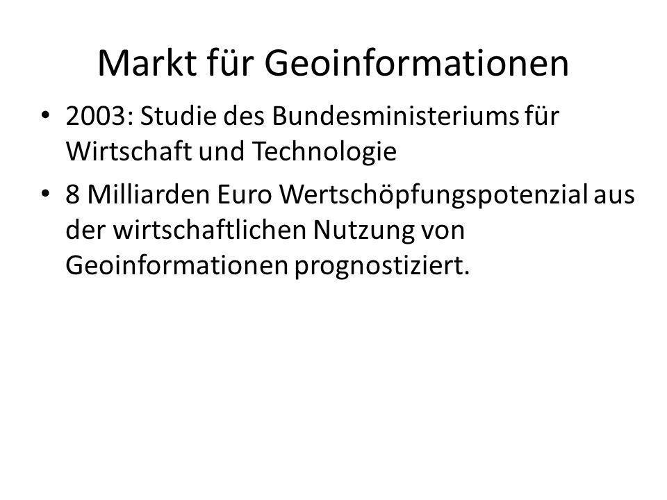 Markt für Geoinformationen 2003: Studie des Bundesministeriums für Wirtschaft und Technologie 8 Milliarden Euro Wertschöpfungspotenzial aus der wirtsc