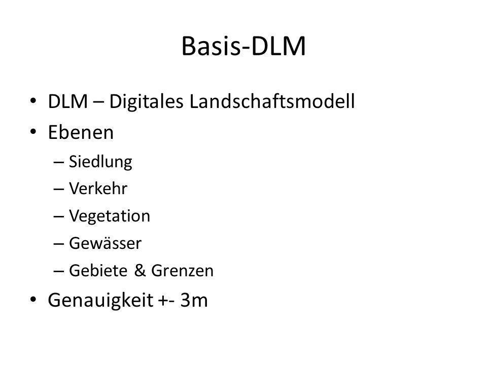 Basis-DLM DLM – Digitales Landschaftsmodell Ebenen – Siedlung – Verkehr – Vegetation – Gewässer – Gebiete & Grenzen Genauigkeit +- 3m