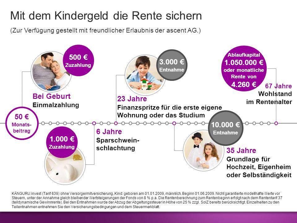 Mit dem Kindergeld die Rente sichern (Zur Verfügung gestellt mit freundlicher Erlaubnis der ascent AG.) KÄNGURU.invest (Tarif 639) ohne Versorgermitve