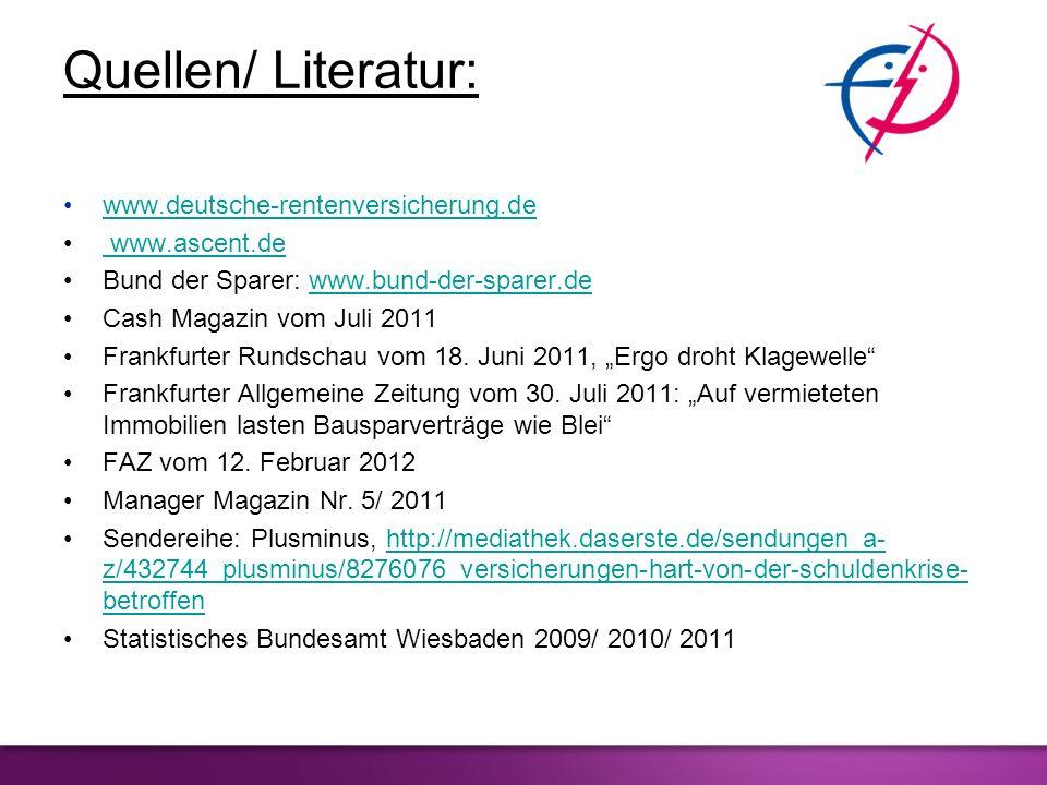Quellen/ Literatur: www.deutsche-rentenversicherung.de www.ascent.de www.ascent.de Bund der Sparer: www.bund-der-sparer.dewww.bund-der-sparer.de Cash