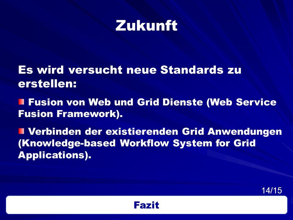 Zukunft Es wird versucht neue Standards zu erstellen: Fusion von Web und Grid Dienste (Web Service Fusion Framework). Verbinden der existierenden Grid