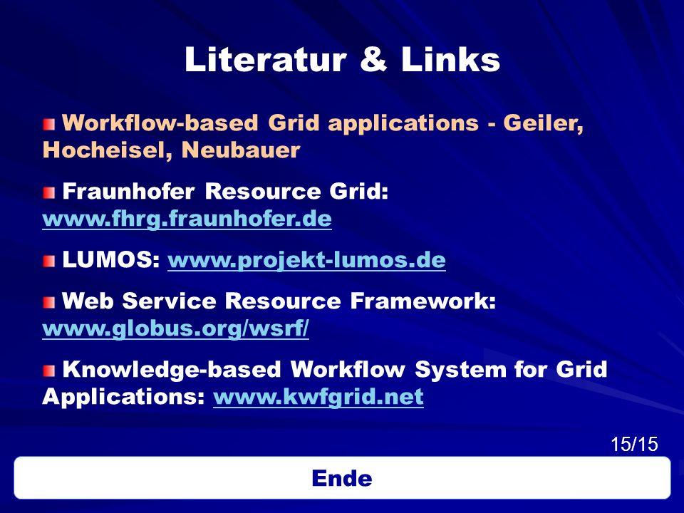 Literatur & Links Workflow-based Grid applications - Geiler, Hocheisel, Neubauer Fraunhofer Resource Grid: www.fhrg.fraunhofer.de www.fhrg.fraunhofer.