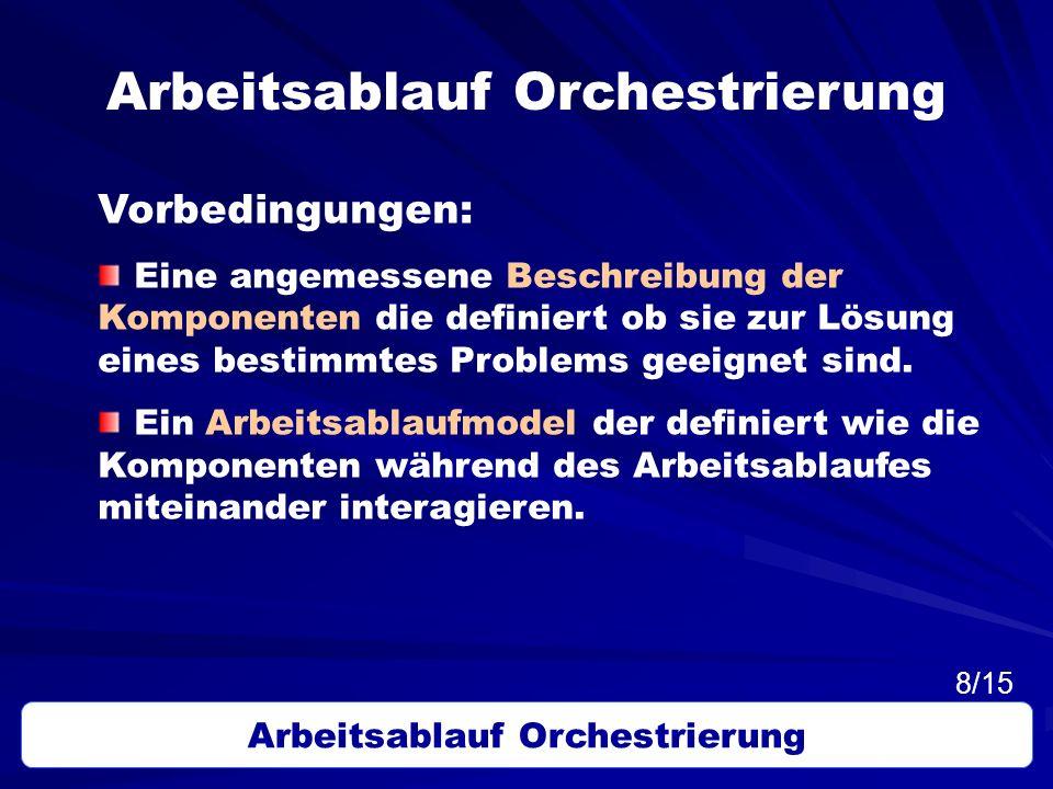 Arbeitsablauf Orchestrierung Vorbedingungen: Eine angemessene Beschreibung der Komponenten die definiert ob sie zur Lösung eines bestimmtes Problems g