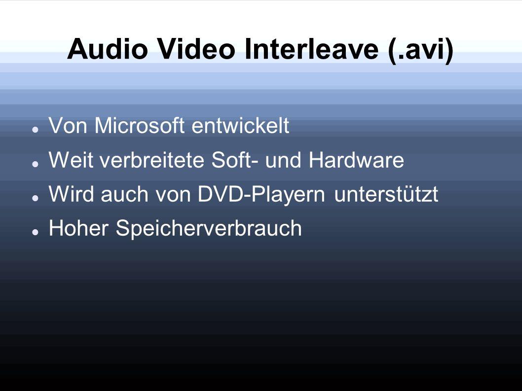 Audio Video Interleave (.avi) Von Microsoft entwickelt Weit verbreitete Soft- und Hardware Wird auch von DVD-Playern unterstützt Hoher Speicherverbrau
