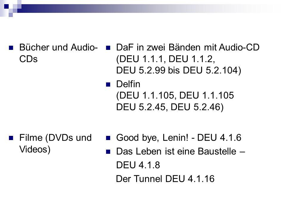 Hörbücher Zeitschriften / Zeitungen Der Tagesspiegel (täglich) Deutsch Perfekt mit Online-Zugang in der Mediothek http://www.deutsch- perfekt.com/ (aktuelle Ausgabe hier, ältere ausleihbar in ZEMS-Bibliothek)http://www.deutsch- perfekt.com/ Kalt erwischt in Hamburg (DEU 5.3.17) Verschollen in Berlin (DEU 5.3.18) http://www.missioneurope.eu/index.php ?lang=de http://www.missioneurope.eu/index.php ?lang=de