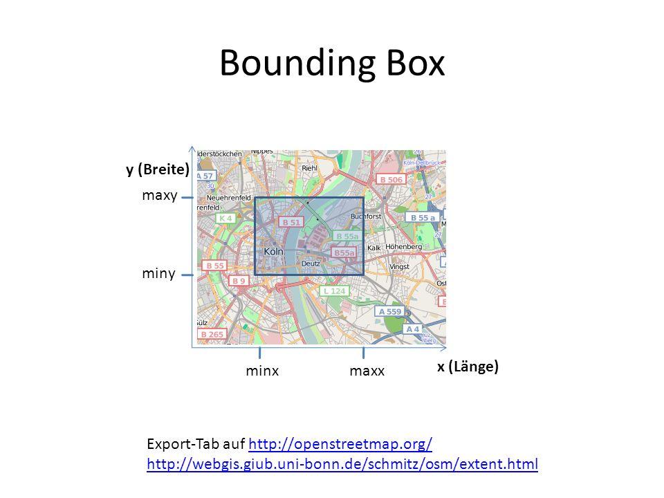 Bounding Box y (Breite) x (Länge) minxmaxx miny maxy Export-Tab auf http://openstreetmap.org/http://openstreetmap.org/ http://webgis.giub.uni-bonn.de/