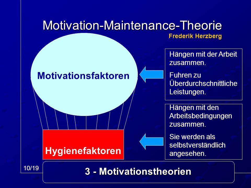 3 - Motivationstheorien Motivation-Maintenance-Theorie Motivationsfaktoren Hygienefaktoren 10/19 Frederik Herzberg Hängen mit der Arbeit zusammen. Fuh