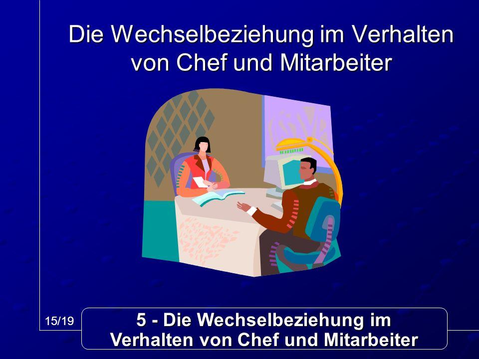 5 - Die Wechselbeziehung im Verhalten von Chef und Mitarbeiter Die Wechselbeziehung im Verhalten von Chef und Mitarbeiter 15/19