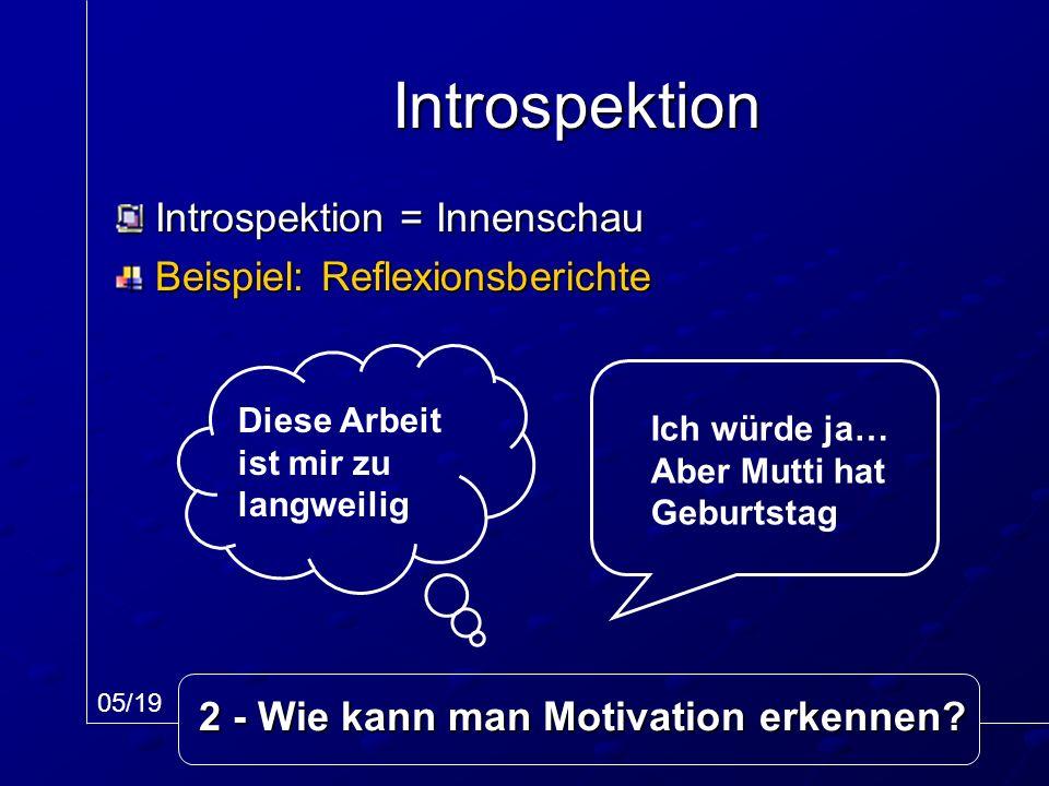 Introspektion = Innenschau Beispiel: Reflexionsberichte Introspektion Ich würde ja… Aber Mutti hat Geburtstag Diese Arbeit ist mir zu langweilig 05/19