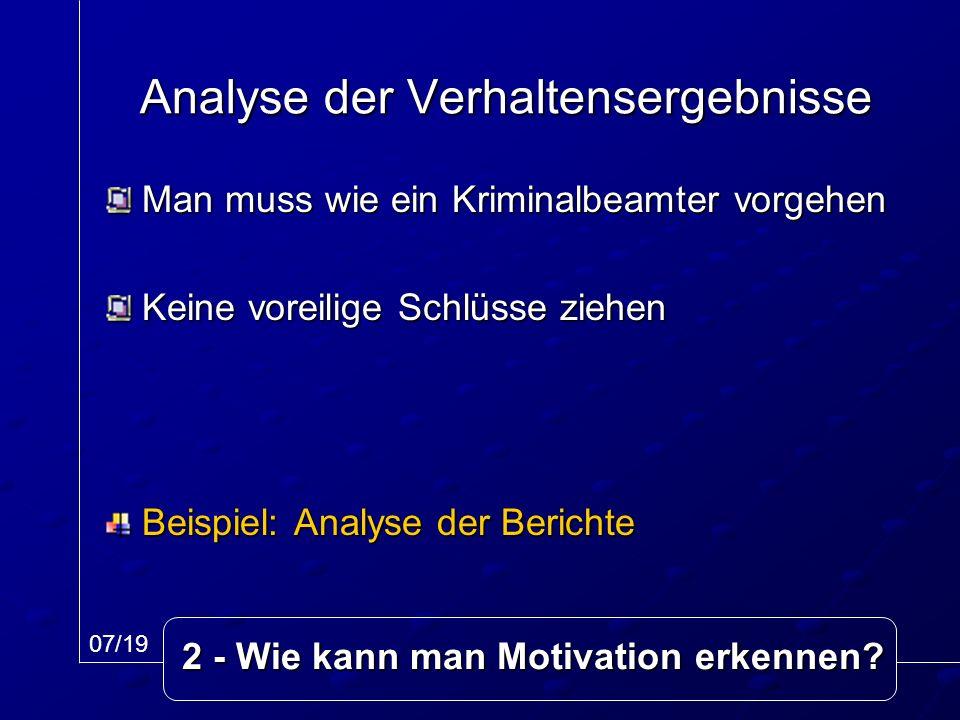 Man muss wie ein Kriminalbeamter vorgehen Keine voreilige Schlüsse ziehen Beispiel: Analyse der Berichte Analyse der Verhaltensergebnisse 07/19 2 - Wi