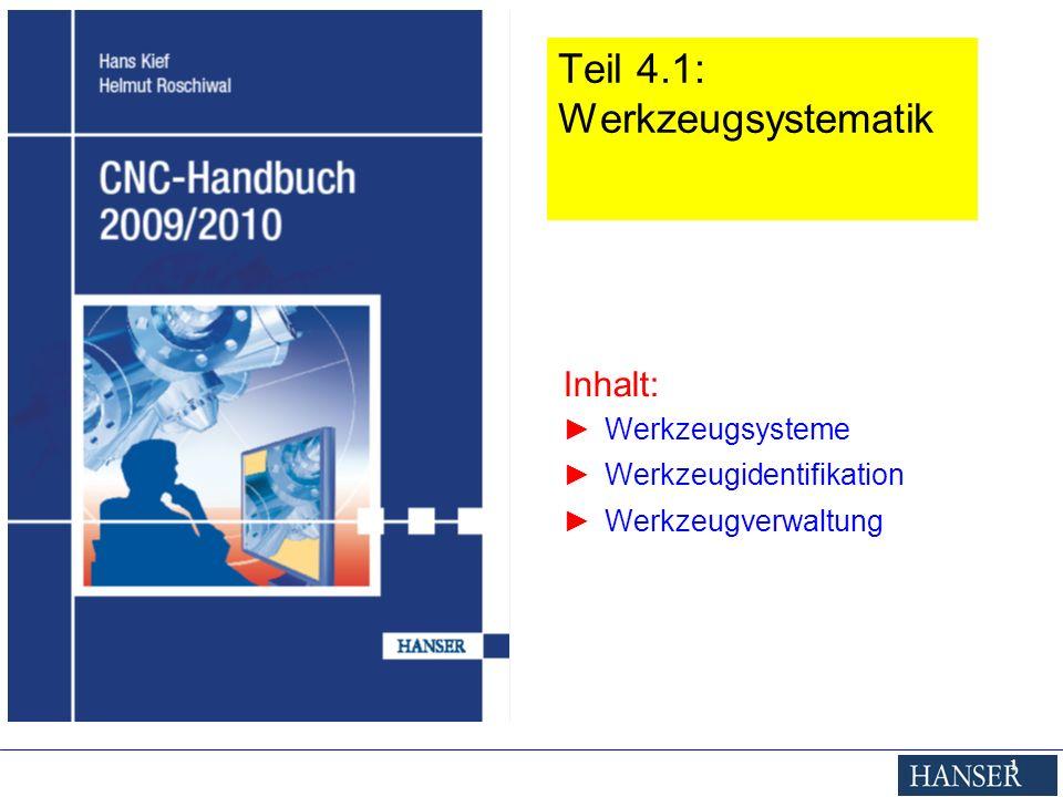 Inhalt: Werkzeugsysteme Werkzeugidentifikation Werkzeugverwaltung 1 Teil 4.1: Werkzeugsystematik