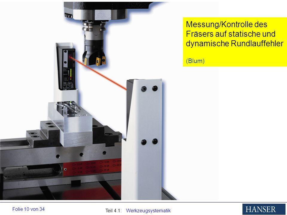 Teil 4.1: Werkzeugsystematik Folie 10 von 34 Messung/Kontrolle des Fräsers auf statische und dynamische Rundlauffehler (Blum)