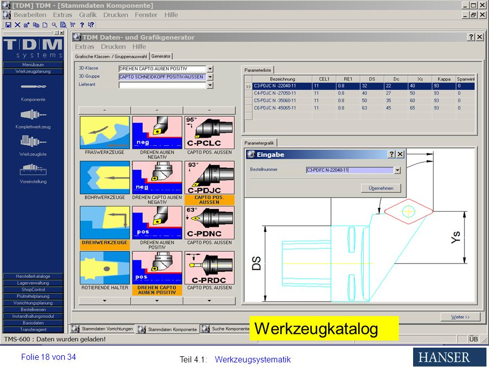 Teil 4.1: Werkzeugsystematik Folie 18 von 34 Werkzeugkatalog