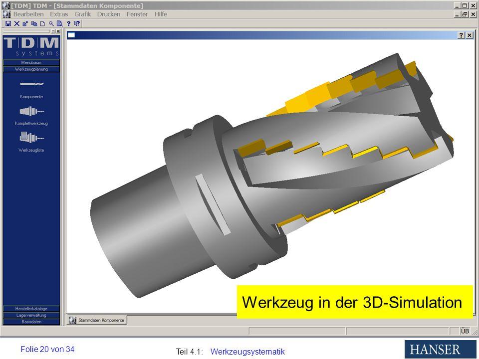 Teil 4.1: Werkzeugsystematik Folie 20 von 34 Werkzeug in der 3D-Simulation