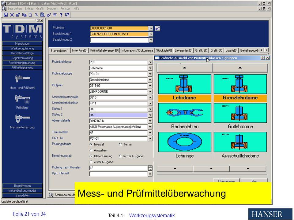 Teil 4.1: Werkzeugsystematik Folie 21 von 34 Mess- und Prüfmittelüberwachung