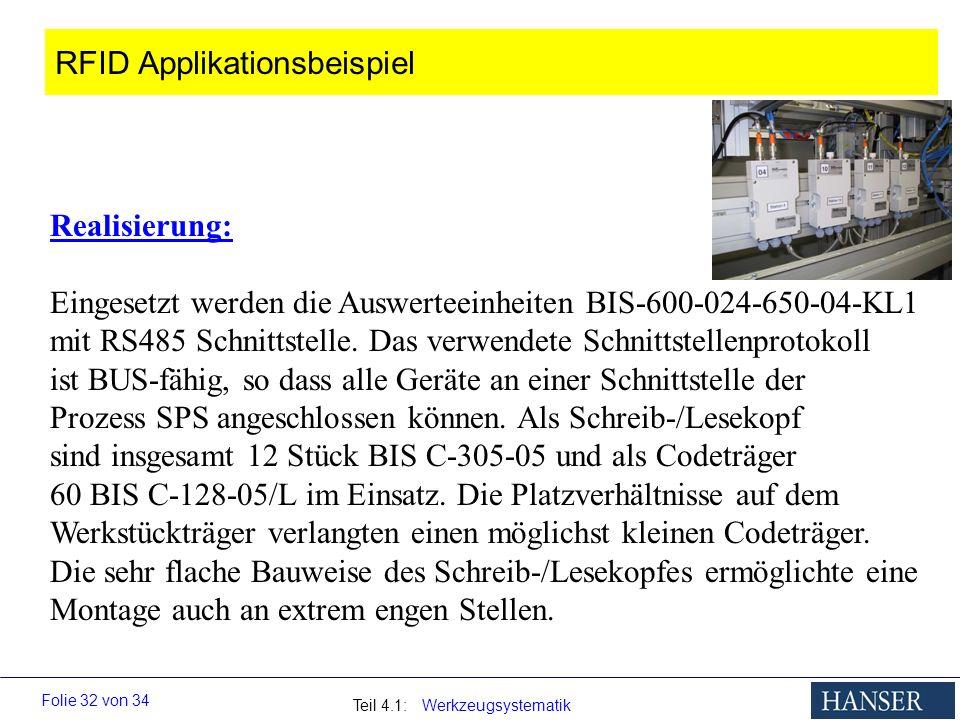 Teil 4.1: Werkzeugsystematik Folie 32 von 34 Realisierung: Eingesetzt werden die Auswerteeinheiten BIS-600-024-650-04-KL1 mit RS485 Schnittstelle. Das