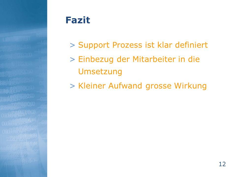12 Fazit >Support Prozess ist klar definiert >Einbezug der Mitarbeiter in die Umsetzung >Kleiner Aufwand grosse Wirkung