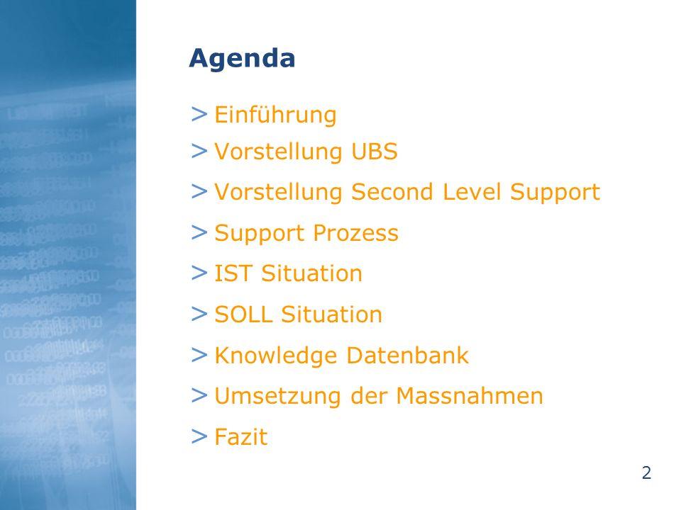 2 Agenda > Einführung > Vorstellung UBS > Vorstellung Second Level Support > Support Prozess > IST Situation > SOLL Situation > Knowledge Datenbank >