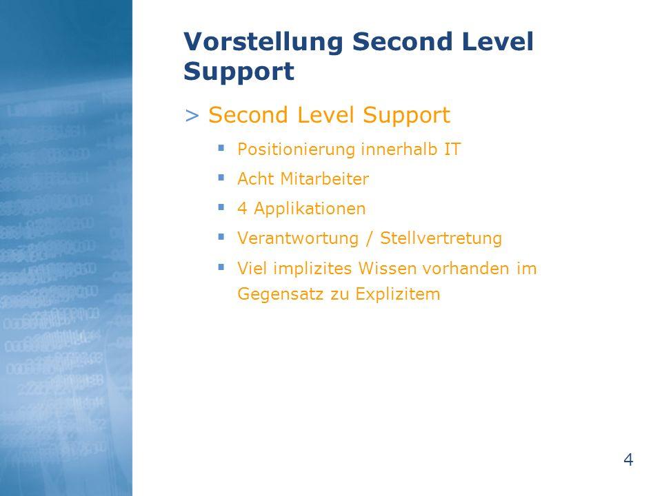 4 Vorstellung Second Level Support >Second Level Support Positionierung innerhalb IT Acht Mitarbeiter 4 Applikationen Verantwortung / Stellvertretung