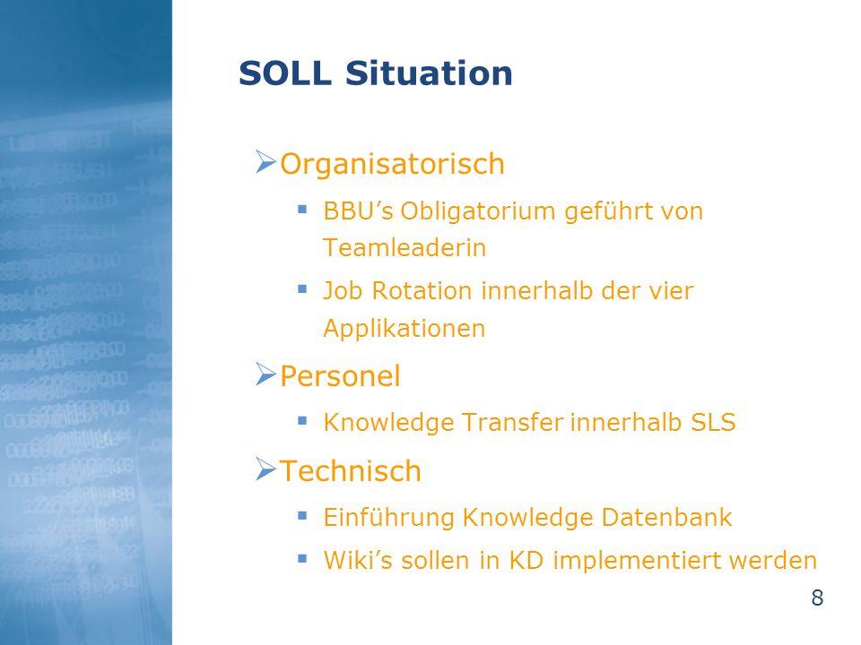 8 SOLL Situation Organisatorisch BBUs Obligatorium geführt von Teamleaderin Job Rotation innerhalb der vier Applikationen Personel Knowledge Transfer