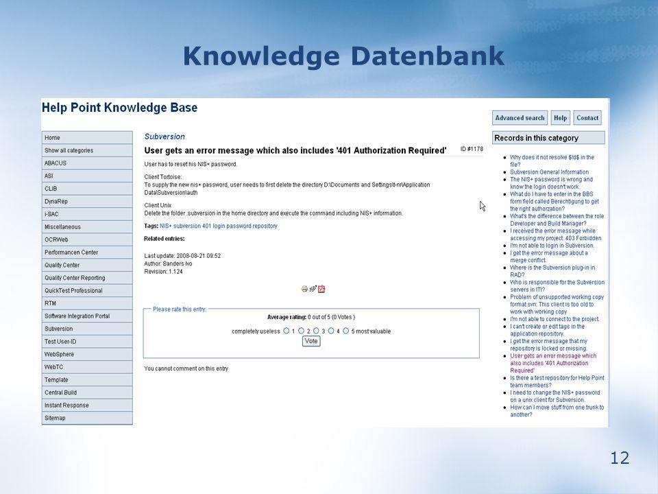 12 Knowledge Datenbank