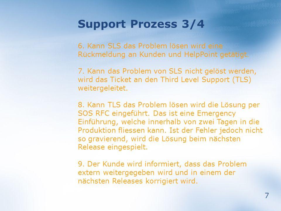 7 Support Prozess 3/4 6. Kann SLS das Problem lösen wird eine Rückmeldung an Kunden und HelpPoint getätigt. 7. Kann das Problem von SLS nicht gelöst w