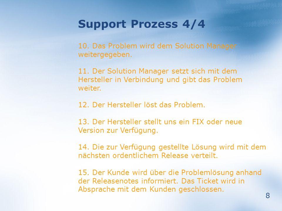 8 Support Prozess 4/4 10. Das Problem wird dem Solution Manager weitergegeben. 11. Der Solution Manager setzt sich mit dem Hersteller in Verbindung un