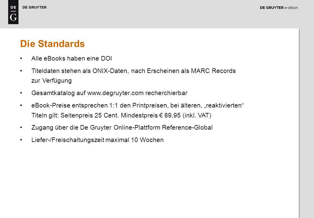 4 Die Standards Alle eBooks haben eine DOI Titeldaten stehen als ONIX-Daten, nach Erscheinen als MARC Records zur Verfügung Gesamtkatalog auf www.degr