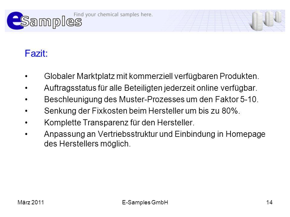 März 2011E-Samples GmbH14 Fazit: Globaler Marktplatz mit kommerziell verfügbaren Produkten. Auftragsstatus für alle Beteiligten jederzeit online verfü