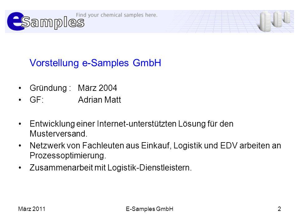 März 2011E-Samples GmbH2 Vorstellung e-Samples GmbH Gründung : März 2004 GF: Adrian Matt Entwicklung einer Internet-unterstützten Lösung für den Muste