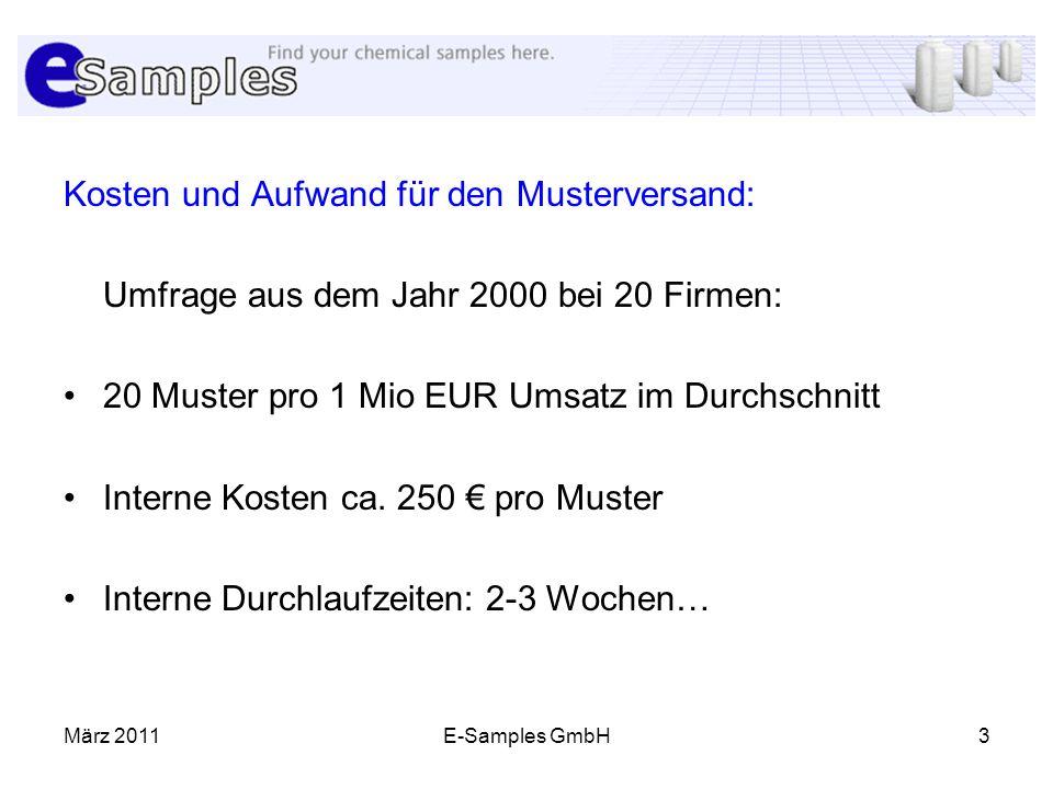 März 2011E-Samples GmbH3 Kosten und Aufwand für den Musterversand: Umfrage aus dem Jahr 2000 bei 20 Firmen: 20 Muster pro 1 Mio EUR Umsatz im Durchsch