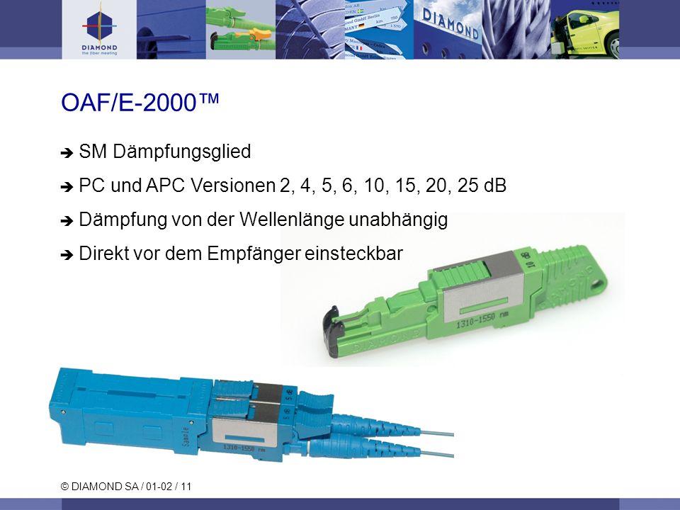 © DIAMOND SA / 01-02 / 11 OAF/E-2000 SM Dämpfungsglied PC und APC Versionen 2, 4, 5, 6, 10, 15, 20, 25 dB Dämpfung von der Wellenlänge unabhängig Dire