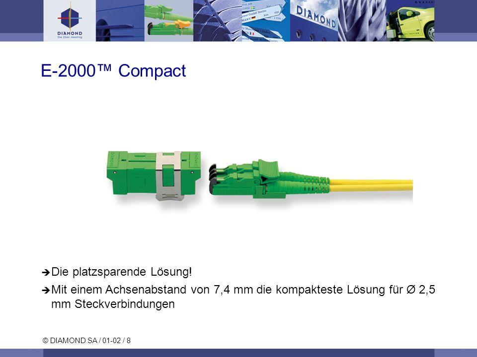 © DIAMOND SA / 01-02 / 8 Die platzsparende Lösung! Mit einem Achsenabstand von 7,4 mm die kompakteste Lösung für Ø 2,5 mm Steckverbindungen E-2000 Com