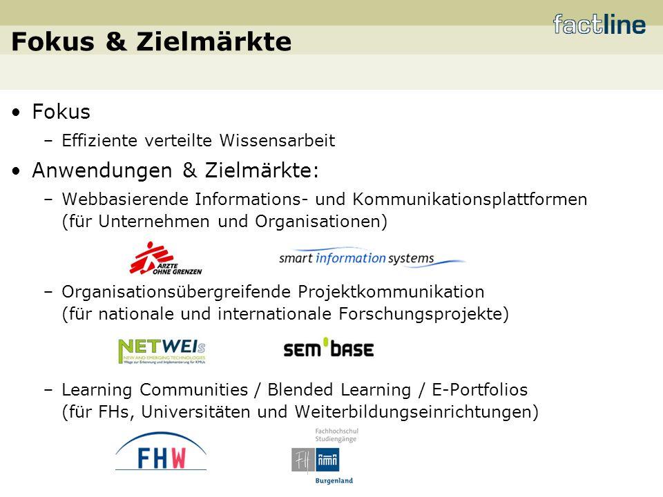 Fokus & Zielmärkte Fokus Effiziente verteilte Wissensarbeit Anwendungen & Zielmärkte: Webbasierende Informations- und Kommunikationsplattformen (für Unternehmen und Organisationen) Organisationsübergreifende Projektkommunikation (für nationale und internationale Forschungsprojekte) Learning Communities / Blended Learning / E-Portfolios (für FHs, Universitäten und Weiterbildungseinrichtungen)