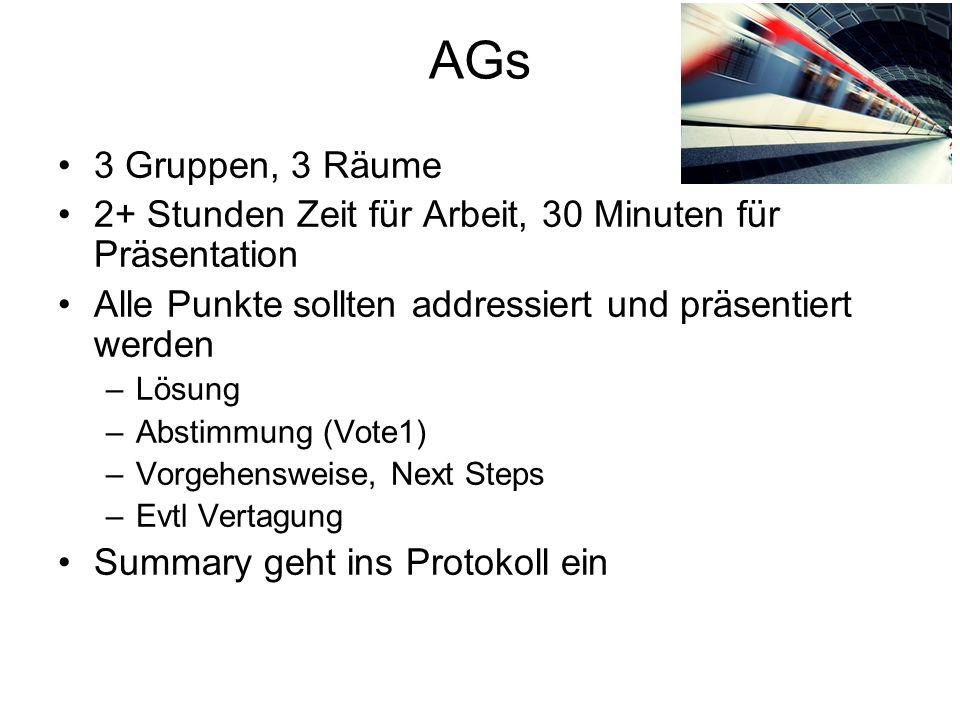 AGs 3 Gruppen, 3 Räume 2+ Stunden Zeit für Arbeit, 30 Minuten für Präsentation Alle Punkte sollten addressiert und präsentiert werden –Lösung –Abstimm