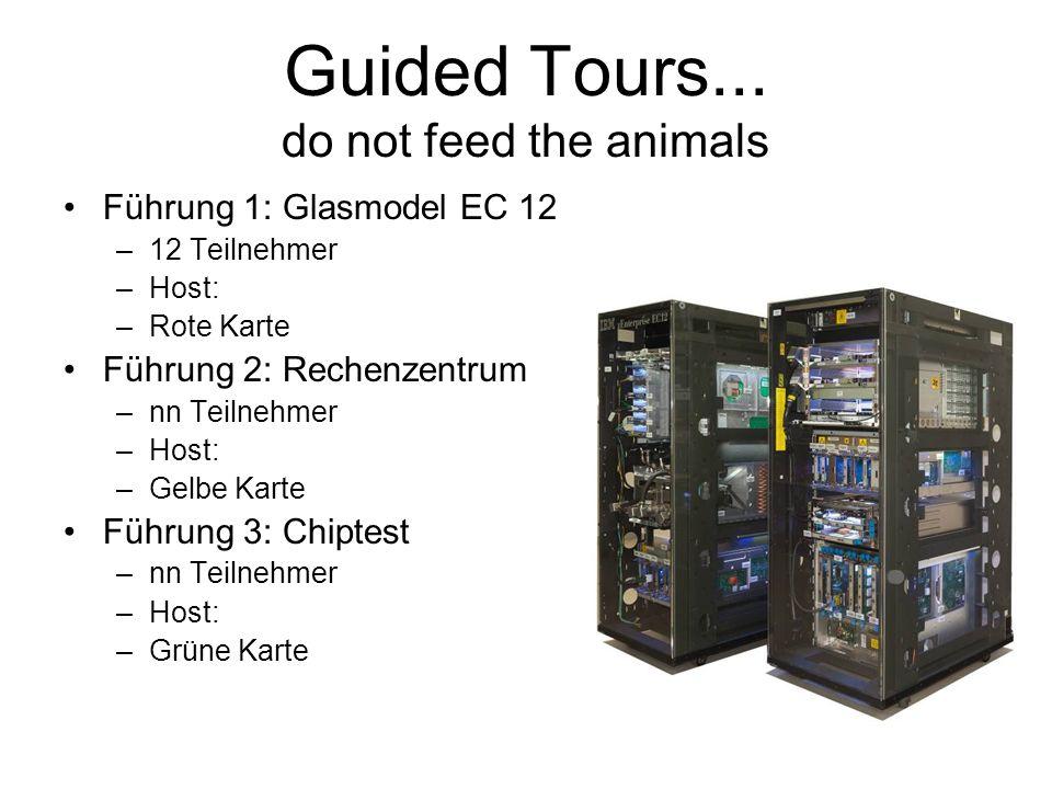 Guided Tours... do not feed the animals Führung 1: Glasmodel EC 12 –12 Teilnehmer –Host: –Rote Karte Führung 2: Rechenzentrum –nn Teilnehmer –Host: –G