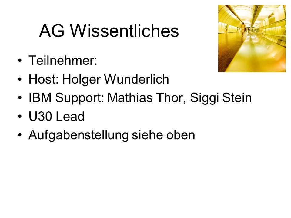 AG Wissentliches Teilnehmer: Host: Holger Wunderlich IBM Support: Mathias Thor, Siggi Stein U30 Lead Aufgabenstellung siehe oben