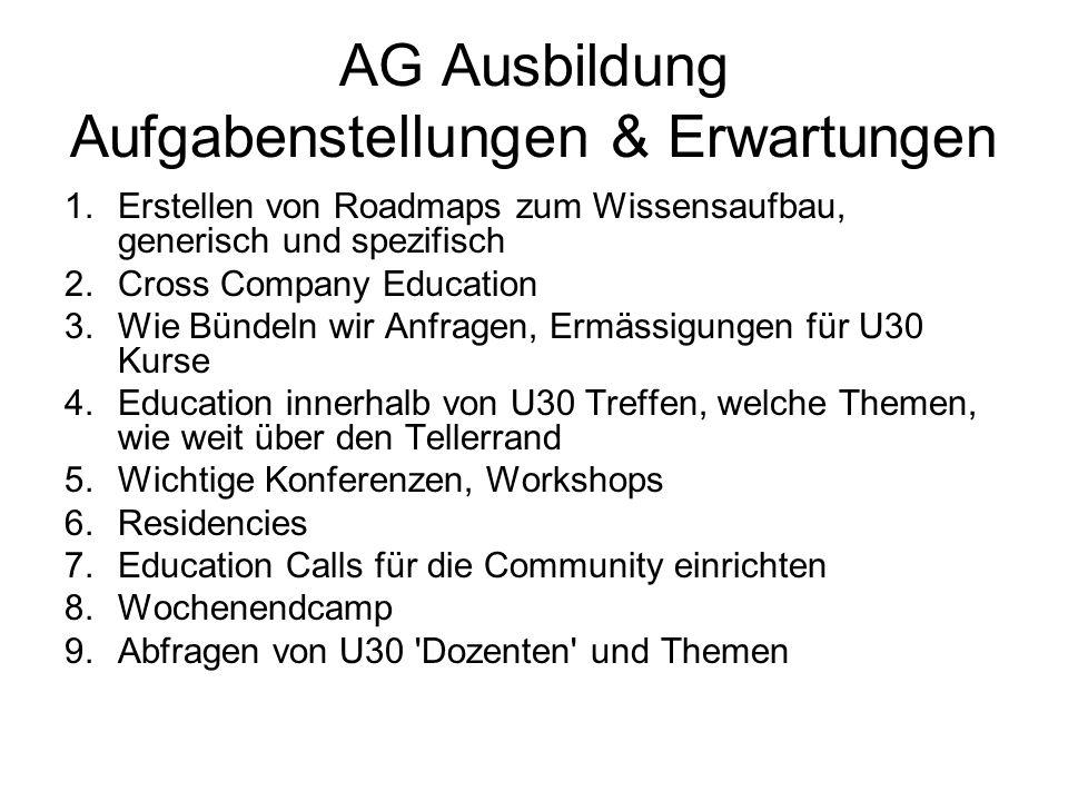 AG Ausbildung Aufgabenstellungen & Erwartungen 1.Erstellen von Roadmaps zum Wissensaufbau, generisch und spezifisch 2.Cross Company Education 3.Wie Bü