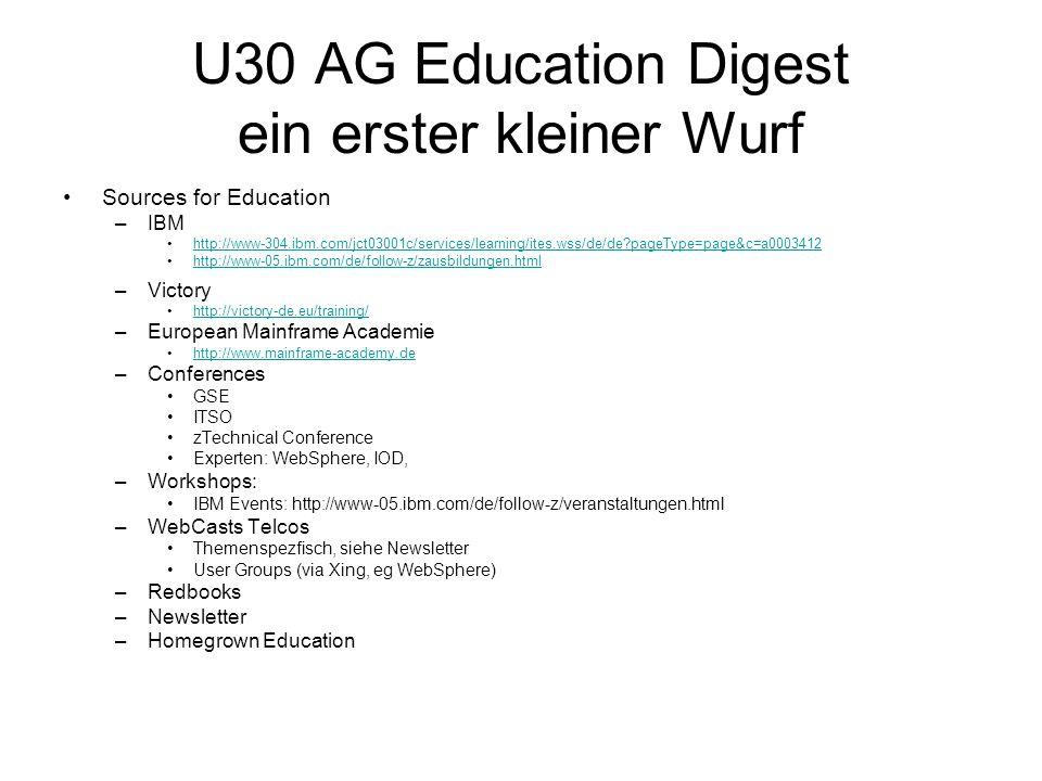 U30 AG Education Digest ein erster kleiner Wurf Sources for Education –IBM http://www-304.ibm.com/jct03001c/services/learning/ites.wss/de/de?pageType=