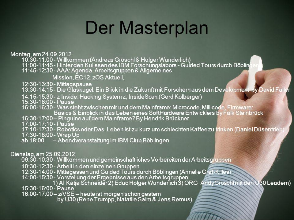 Der Masterplan Montag, am 24.09.2012 10:30-11:00 - Willkommen (Andreas Gröschl & Holger Wunderlich) 11:00-11:45 - Hinter den Kulissen des IBM Forschun