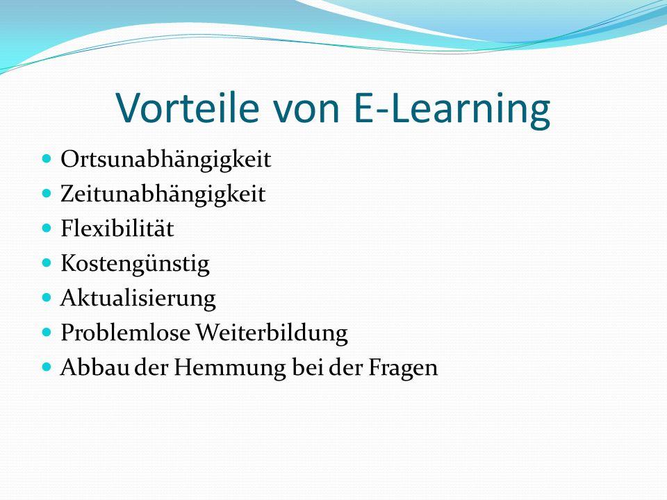 Vorteile von E-Learning Ortsunabhängigkeit Zeitunabhängigkeit Flexibilität Kostengünstig Aktualisierung Problemlose Weiterbildung Abbau der Hemmung be